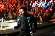 Ronnie O'Sullivan arrives for his match against Neil Robertson in the final. .Betvictor Welsh Open snooker 2016, Final day at the Motorpoint Arena in Cardiff, South Wales on Sunday 21st  Feb 2016.  <br /> pic by Andrew Orchard, Andrew Orchard sports photography.