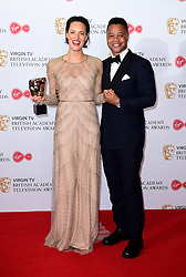 Cuba Gooding Jr presents Phoebe Waller-Bridge with the award for Best Female Performance in a Comedy Programme in the press room at the Virgin TV British Academy Television Awards 2017 held at Festival Hall at Southbank Centre, London. PRESS ASSOCIATION Photo. Picture date: Sunday May 14, 2017. See PA story SHOWBIZ Bafta. Photo credit should read: Ian West/PA Wire