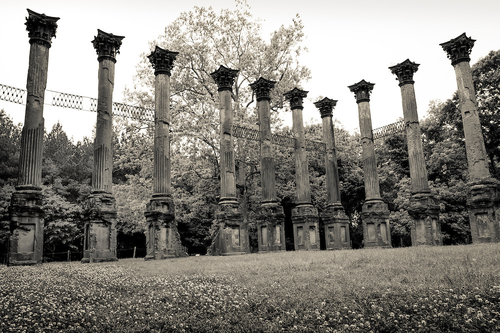 WIndsor Ruins outside of Port Gibson, Mississippi.The ruins are those of the largest antebellum Greek Revival mansion built in the state. On 17 February 1890 the home burnt to the ground leaving 23 columns standing.
