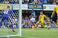 Portsmouth Midfielder, Jamal Lowe (10) with a cross during the EFL Sky Bet League 1 match between Portsmouth and Oxford United at Fratton Park, Portsmouth, England on 18 August 2018.