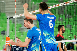 Alen Pajenk of Slovenia and Mitja Gasparini of Slovenia react during volleyball match between National teams of Slovenia and Portugal in 2nd Round of 2018 FIVB Volleyball Men's World Championship qualification, on May 26, 2017 in Arena Stozice, Ljubljana, Slovenia. Photo by Vid Ponikvar / Sportida