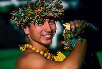 Conch shell blower, Waikiki Beach, Honolulu, Hawaii USA