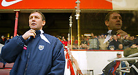 20/11/2004 - FA Barclays Premiership - Arsenal v  - West Bromich Albion - HIghbury Stadium, London<br />West Bromich Albion's manager Bryan Robson stands in the Highbury dugout next to his reflection in the perpex<br />Photo:Jed Leicester/Back Page Images