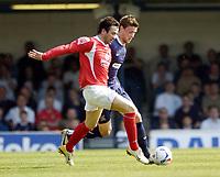 Photo: Olly Greenwood.<br />Southend United v Barnsley. Coca Cola Championship. 14/04/2007. Southend's Simon Francis and Barnsley's Daniel Nyatanga