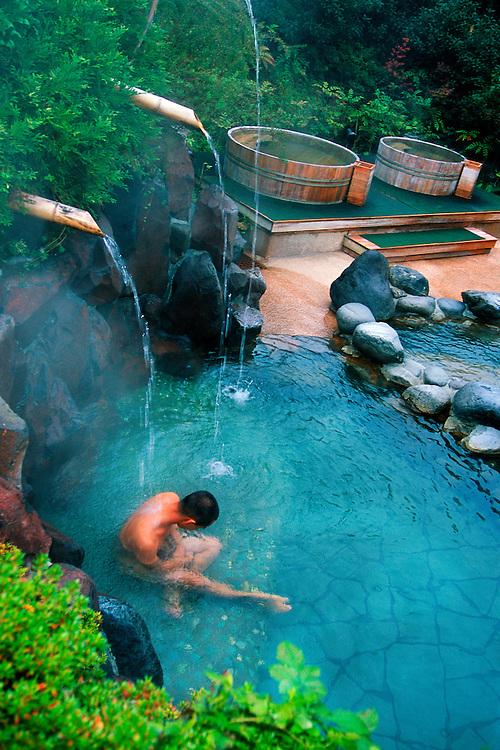 Japanese man in hot spring, Moei no yu Onsen (Hot Spring) Hakone Kowaki-en Yunessun Spa Resort, Hakone, Japan