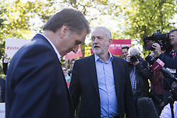 May 5, 2017 - LIVERPOOL, ENGLAND - LIVERPOOL , UK.  ..Jeremy Corbyn, Leader of the Labour Party, joins newly elected Metro Mayor of the Liverpool City Region Steve Rotheram (left) in Liverpool today (Friday 5th May 2017).  Pictured at Devonshire House Hotel, Edge Lane, Liverpool. (Credit Image: © Chris Bull/London News Pictures via ZUMA Wire)