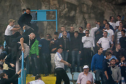Fans of HNK Rijeka fightin with police during football match between HNK Rijeka and HNK Hajduk Split in 11th Round of Prva Hrvaska Nogometna Liga MaxTV 2013/14 on September 28, 2013 in Stadion Kantrida, Rijeka, Croatia. (Photo By Urban Urbanc / Sportida.com)