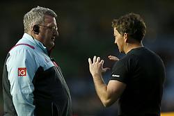 Harlequins Director of Rugby John Kingston (left) speaks with referee JP Doyle before the Aviva Premiership match at Twickenham Stoop, London.