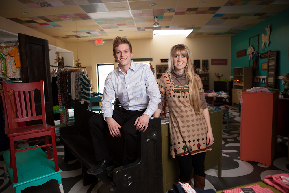 """05 December 2012- Ashley and Colin Dworak are photographed at """"Oh, Darling"""" for Omaha Magazine."""