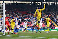 Souleymane Bamba of Leeds United (3) shoots and scores his teams 1st goal. Skybet football league Championship match, Blackburn Rovers v Leeds United at Ewood Park in Blackburn, Lancs on Saturday 12th March 2016.<br /> pic by Chris Stading, Andrew Orchard sports photography.