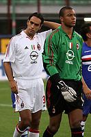 Milano 13/8/2004 Trofeo Seat. Milan - Sampdoria 2-2. Sampdoria won after penalties - Sampdoria vince ai rigori.<br /> <br /> Alessandro Nesta e Nelson Dida Milan <br /> <br /> Foto Andrea Staccioli Graffiti