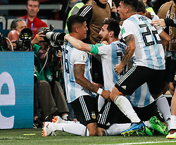 June 26, 2018 - Saint Petersburg, Russia - Marcos Rojo (L) of Argentina national team celebrates his goal with Lionel Messi during the 2018 FIFA World Cup Russia group D match between Nigeria and Argentina on June 26, 2018 at Saint Petersburg Stadium in Saint Petersburg, Russia. (Credit Image: © Mike Kireev/NurPhoto via ZUMA Press)