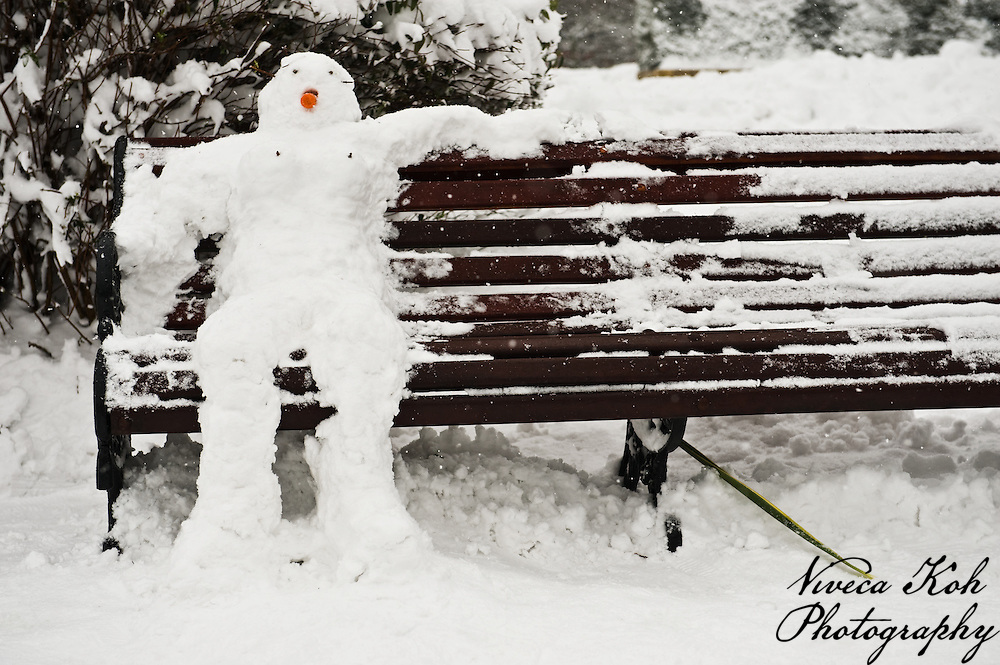 Snowman on a park bench