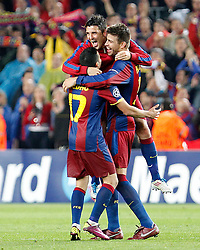 03-05-2011 VOETBAL: SEMI FINAL CL  FC BARCELONA - REAL MADRID: BARCELONA<br /> Pedro Rodriguez, David Villa and Gerard Pique celebrate the victory i<br /> *** NETHERLANDS ONLY***<br /> ©2011-FH.nl- EXPA/ Alterphotos/ Acero