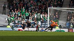 Hibernian's Leigh Griffiths scoring their second goal..Hibernian 4 v 3 Falkirk, William Hill Scottish Cup Semi Final, Hampden Park..©Michael Schofield..
