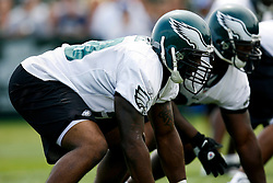 Bethlehem, PA - August 2nd 2008 - Linebacker/Defensive End Trent Cole on the line of scrimmage before a play during the Philadelphia Eagles Training Camp at Lehigh University (Photo by Brian Garfinkel)