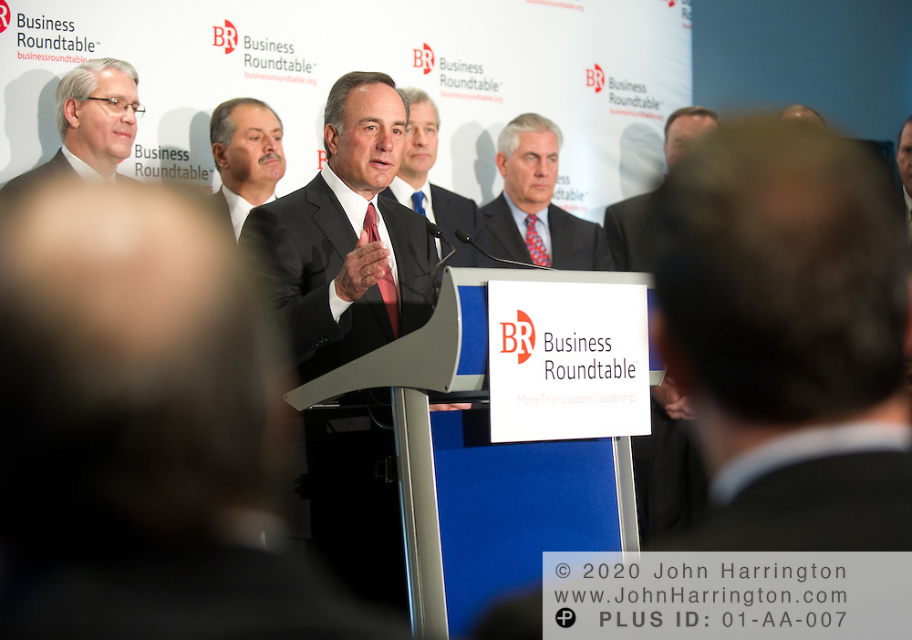 Ivan Seidenberg, Chairman and CEO of Verizon Communications and Chairman of Business Roundtable is joined by more than a dozen other CEOs to announce the release of Business Roundtable's Roadmap for Growth, Wednesday December 8, 2010 at the Newseum in Washington, DC. The Roadmap for Growth is a plan to return America to long-term economic growth, create jobs, and position the United States as a global leader in the 21st century.