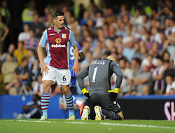 "Aston Villa's Ciaran Clark consoles Aston Villa's Brad Guzan  - Photo mandatory by-line: Joe Meredith/JMP - Tel: Mobile: 07966 386802 21/08/2013 - SPORT - FOOTBALL - Stamford Bridge - London - Chelsea V Aston Villa - Barclays Premier League - EDITORIAL USE ONLY. No use with unauthorised audio, video, data, fixture lists, club/league logos or ""live"" services. Online in-match use limited to 45 images, no video emulation. No use in betting, games or single club/league/player publications"