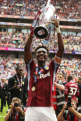 May 27, 2019 - London, England, United Kingdom - Tammy Abraham (18) of Aston Villa lifts the Play Off final trophy during the Sky Bet Championship Play Off Final between Aston Villa and Derby County at Wembley Stadium, London on Monday 27th May 2019. (Credit Image: © Mi News/NurPhoto via ZUMA Press)