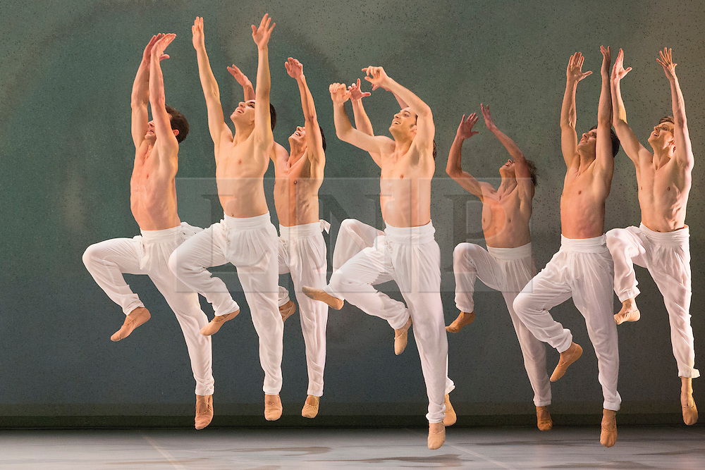 """© Licensed to London News Pictures. 09/03/2015. London, England. Pictured: Spring and Fall, choreography by John Neumeier. Dress rehearsal of the triple bill """"Modern Masters"""" performed by dancers from the English National Ballet at Sadler's Wells. Performances from 10 to 15 March 2015. Photo credit: Bettina Strenske/LNP"""