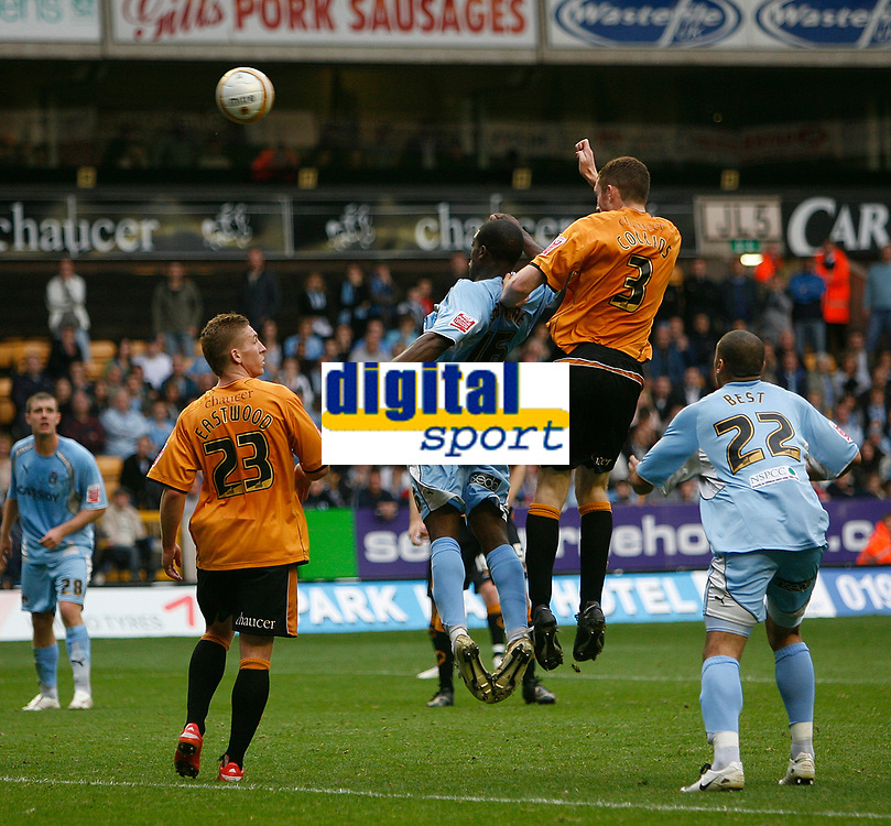 Photo: Steve Bond.<br />Wolverhampton Wanderers v Coventry City. Coca Cola Championship. 06/10/2007. Neill Collins (no3) rises high to power in the last minute winner