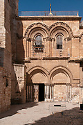 The entrance to the Church of the Holy Sepulchre, Jerusalem, Israel