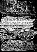 William Blake (1757-1827) English mystic, poet, painter and engraver. Blake's own engraving for plate for his poem 'Jerusalem' (1804-1820.)