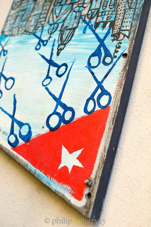 Close up part of mural for hairdressers, Havana in Callejon de los Peluqueros, Havana, Cuba