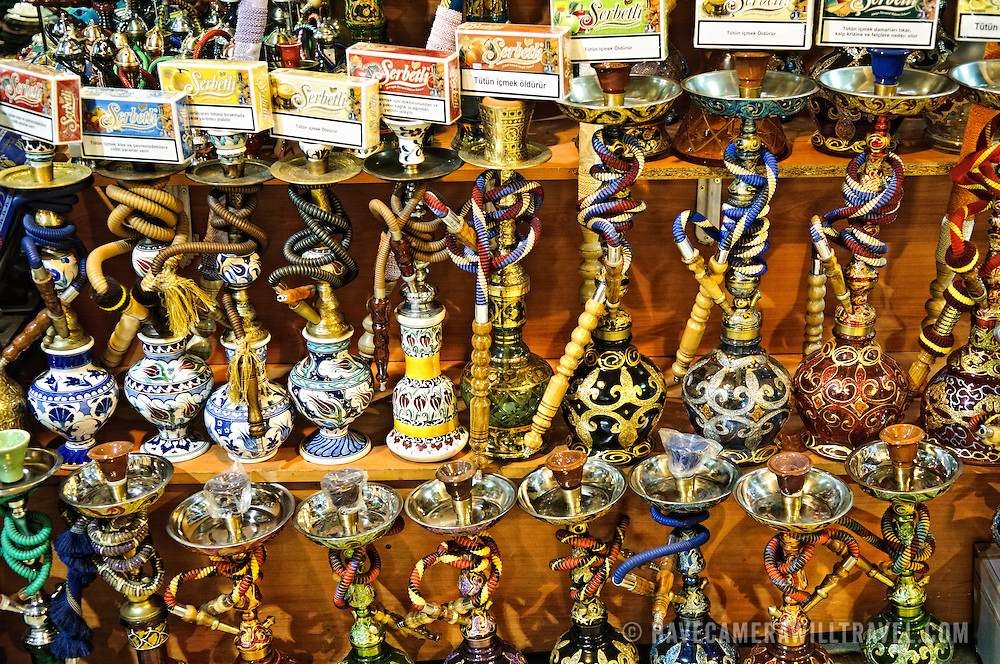 Ornately painted water pipes for sale in Istanbul's historic Grand Bazaar