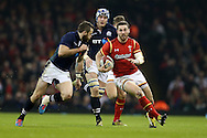 George North of Wales ® makes a break. RBS Six nations championship 2016, Wales v Scotland at the Principality Stadium in Cardiff, South Wales on Saturday 13th February 2016. <br /> pic by  Andrew Orchard, Andrew Orchard sports photography.