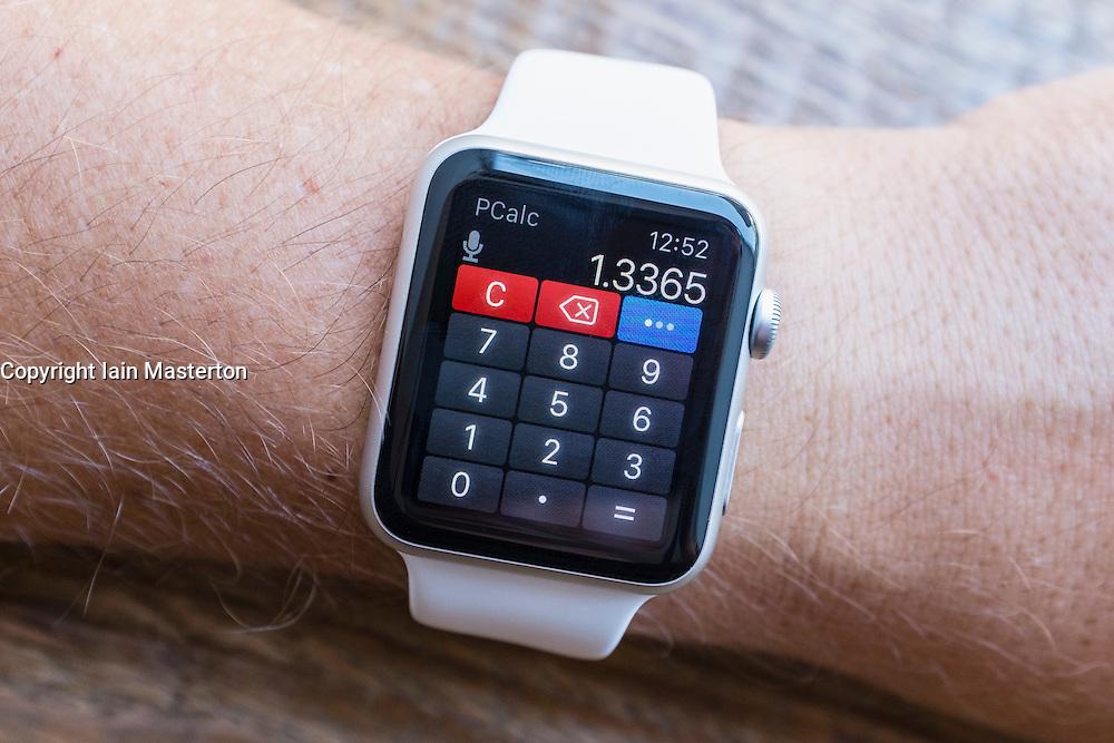 calculator app on an Apple Watch