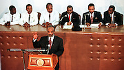 07 FEB 96 - PORT AU PRINCE, HAITI: Haitian legisislative leaders listen to newly inaugurated Haitian president Rene Preval take the oath of office in the Haitian Legislative Palace Wednesday, Feb 7, 1996. For the first time in Haiti's history, one democratically elected president succeeded another Wednesday, when the tumultous term of President Jean Bertrand Aristide came to an end.  .PHOTO BY JACK KURTZ