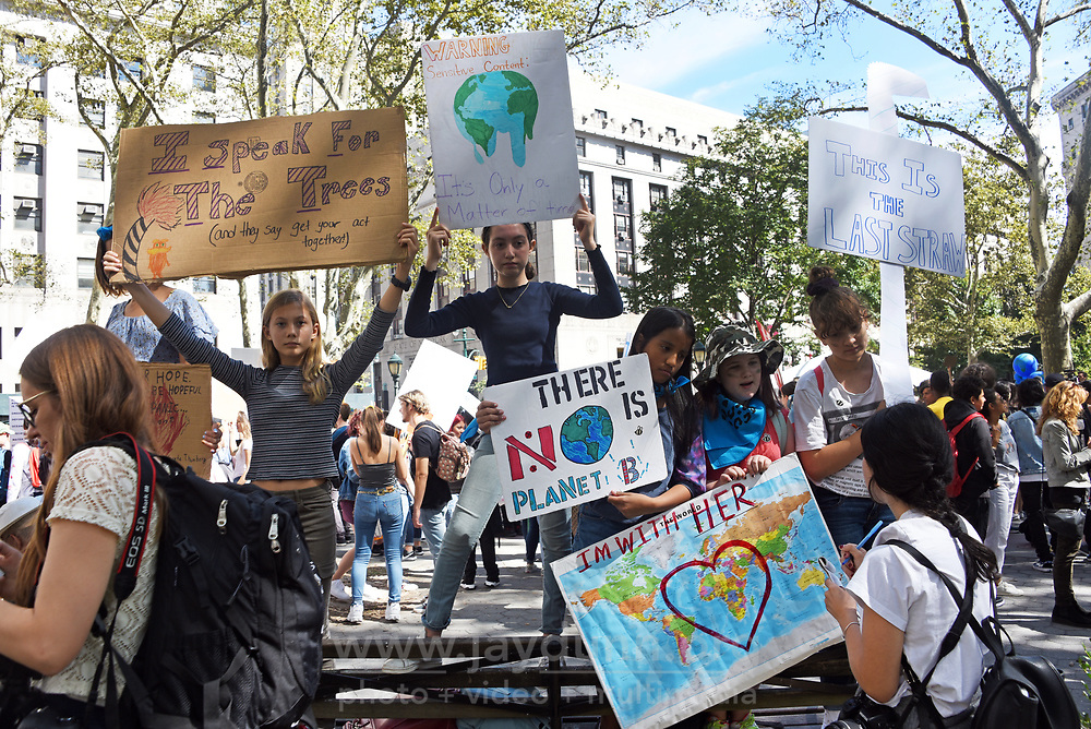 Almost a quarter of a million people joined Friday's Climate Strike in New York City on September 20, 2019. The afternoon-long protest against inaction on climate change began in Foley Square, the beginning of a long march along Broadway toward Battery Park.Swedish teen activist Greta Thunberg, 16, spoke at the rally along with a number of local organizers and concerned parties  from around the world.