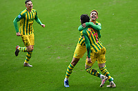 Football - 2019 / 2020 Sky Bet (EFL) Championship - Millwall vs. West Bromwich Albion<br /> <br /> West Bromwich Albion's Filip Krovinic celebrates scoring the opening goal with Callum Robinson (right), at The Den.<br /> <br /> COLORSPORT/ASHLEY WESTERN
