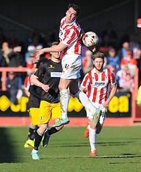 Cheltenham Town's Matt Sparrow loses the high ball.  - Photo mandatory by-line: Nizaam Jones  - Mobile: 07966 386802 - 07/03/2015 - SPORT - Football - Cheltenham - Whaddon Road- Cheltenham Town v Mansfield - Sky Bet League Two