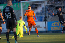 Dundee United's Billy King  cele scoring their goal. half time : Falkirk 2 v 1 Dundee United, Scottish Championship game played 6/1/2018 played at The Falkirk Stadium.