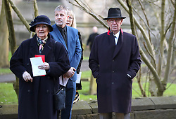 Sir Bobby Charlton (right) and wife Norma Ball during the funeral service for Gordon Banks at Stoke Minster.