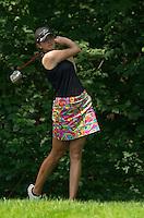 Kim Kaufman tees off during Saturday's round of the Symetra LPGA Tour at Beaver Meadow Golf Course.  (Karen Bobotas/for the Concord Monitor)