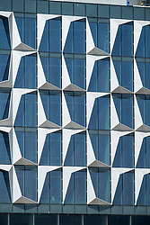 Detail of architecture of windows at new Dubai Design District (d3) in Dubai United Arab Emirates