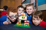 Sam O'Neill, Ryan Glynn, Ugnius Satlas and Rene Veskenicky from Scoil Caitriona  at the Galway Education centre's Junior First Lego League at the Radisson Blu hotel. Photo:Andrew Downes, xposure.