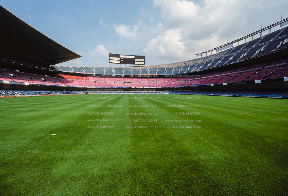 BARCELONA, SPAIN - AUGUST 1992:  A general view of the Camp Nou soccer stadium in July 1992 before the start of the 1992 Summer Olympics in Barcelona, Spain; Camp Nou was the site of the soccer final of the Olympic Games.  (Photo by David Madison/Getty Images)