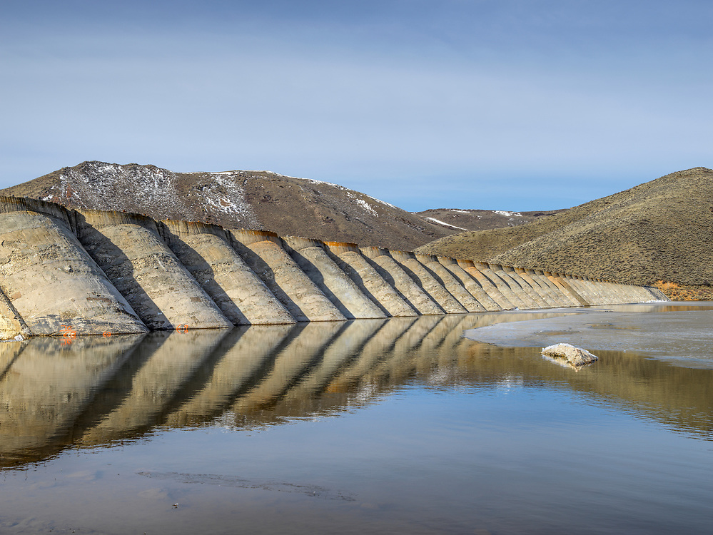 Open Edition Print<br /> Breached dam on Fish Creek Reservoir is a holdover reminders of the CCC work programs of the 1930's near Carey Idaho