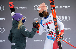 Second placed in overall classification of Golden Fox 2021 Michelle Gisin (SUI) and third placed Michelle Gisin (SUI) celebrate at trophy ceremony during 2nd Run of Ladies' Giant Slalom at 57th Golden Fox event at Audi FIS Ski World Cup 2020/21, on January 17, 2021 in Podkoren, Kranjska Gora, Slovenia. Photo by Vid Ponikvar / Sportida