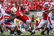 Ndamukong Suh makes a tackle against Louisiana-Lafayette in a 55-0 win at Memorial Stadium.  © Aaron Babcock