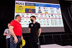 Tadej POGACAR of UAE TEAM EMIRATES and Mayor of Ljubljana, Zoran Jankovic during the 5th Stage of 27th Tour of Slovenia 2021 cycling race between Ljubljana and Novo mesto (175,3 km), on June 13, 2021 in Ljubljana - Novo mesto, Ljubljana - Novo mesto, Slovenia. Photo by Vid Ponikvar / Sportida
