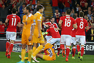 Joe Allen of Wales © celebrates after he scores his teams 2nd goal. Wales v Moldova , FIFA World Cup qualifier at the Cardiff city Stadium in Cardiff on Monday 5th Sept 2016. pic by Andrew Orchard, Andrew Orchard sports photography