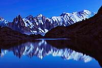 Mountain impression Lac Blanc with Aiguilles de Chamonix, Mont Blanc - Europe, France, Haute Savoie, Aiguilles Rouges, Chamonix, Lac Blanc - Dusk - September 2008