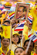 05 DECEMBER 2012 - BANGKOK, THAILAND: A woman holds up a photo of Bhumibol Adulyadej, the King of Thailand, on the Royal Plaza Wednesday while she waits to see the King, before his public audience at the Mukkhadej balcony of the Ananta Samakhom Throne Hall. December 5 is a national holiday. It's also celebrated as Father's Day. Celebrations are being held across the country to mark the birthday of Bhumibol Adulyadej, the King of Thailand.    PHOTO BY JACK KURTZ