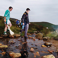 4 August 2007; European Super Bantamweight Champion Bernard Dunne, right, and Clare's David Fitzgerald cross a stream during the M Donnelly All-Ireland POC FADA 2007. M Donnelly All-Ireland POC FADA 2007, Annaverna Mountain Course, Ravaensdale, Co. Louth. Picture Credit; Paul Mohan / SPORTSFILE *** Local Caption ***