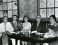 1971 Shirley Jones joins Hollywood's millionth visitors, Mr. & Mrs. Byran Harryman and their sons at the Brown Derby